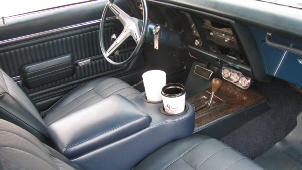 A 1967-1969 Firebird Saddle Console in a 1969 Firebird